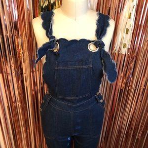 English Factory Scallop Blue Jean Overalls